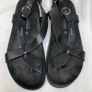 Mephisto Black Leather Sandals Birkenstock's 38/8